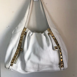 B. Makowsky White Leather Shoulder Bag